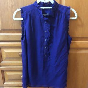 J. Crew purple silk top with ruffled trim